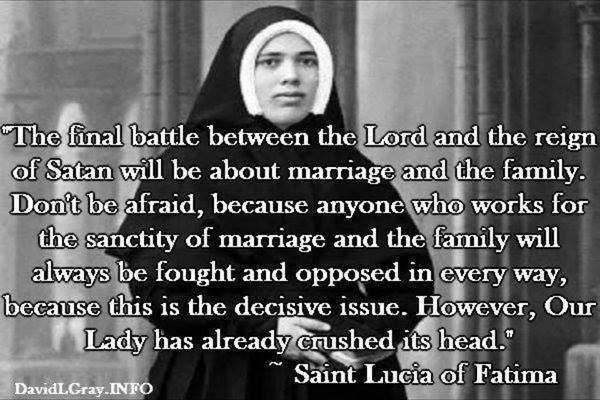 """TradCatKnight: Fatima: """"Final Battle About Family & Marriage"""""""