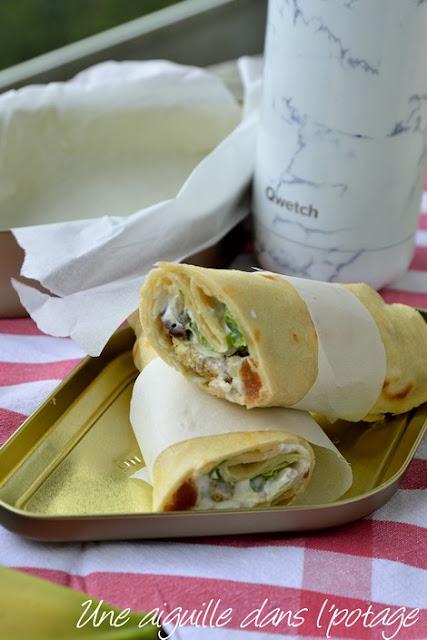 Wraps-poulet-fruits secs-citron-confit-lunch box