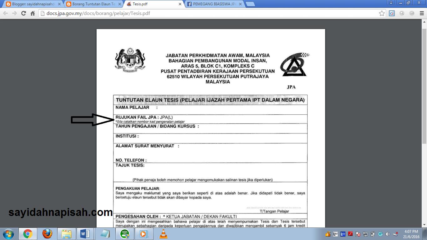 maklumat lengkap berkenaan tuntutan elaun tesis JPA