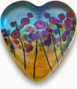 Robert Held California Poppies Heart-Shaped Paperweight