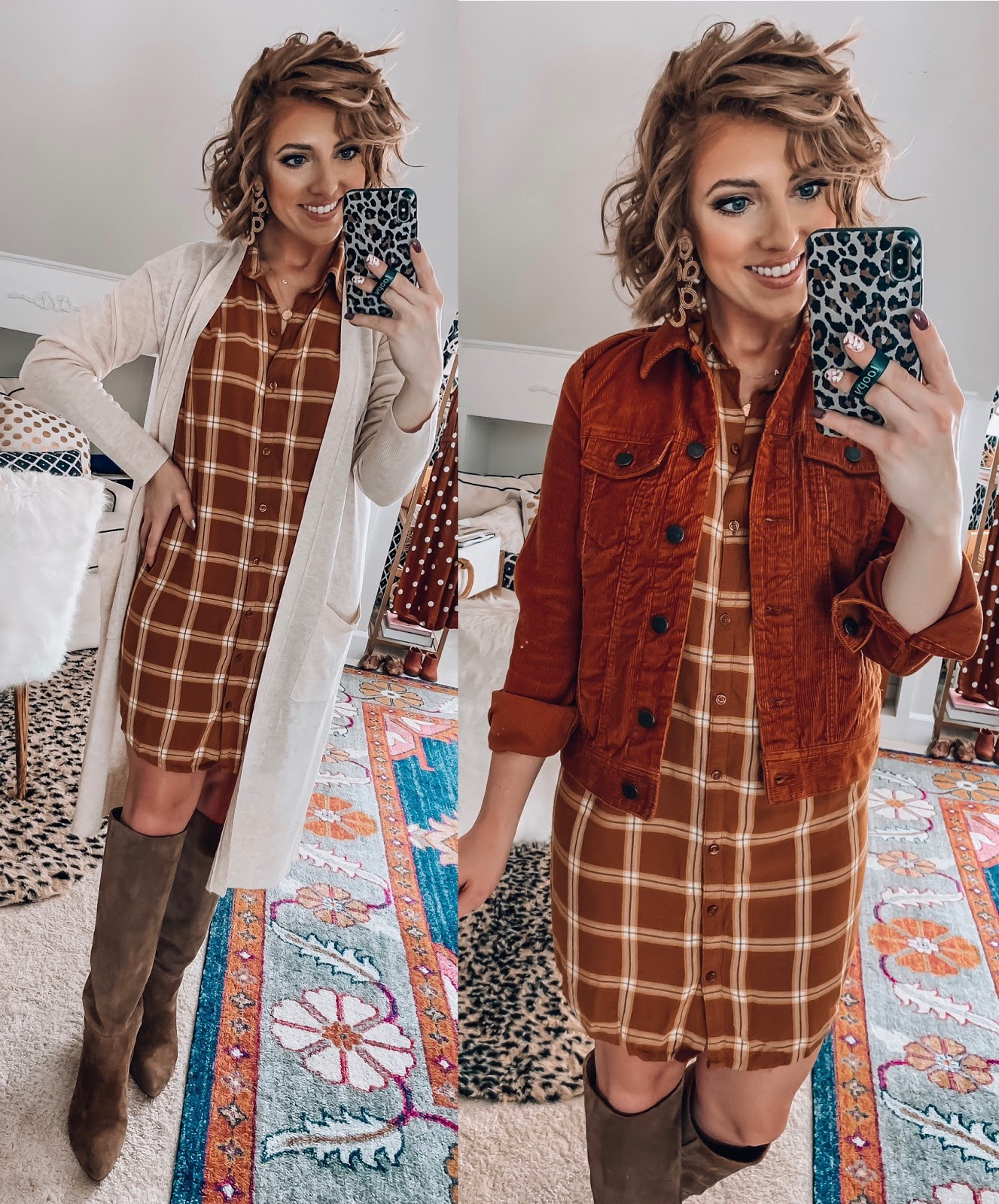 Old Navy Plaid Button Up Shirt Dress + Target Style Cardigan & Old Navy Corduroy Jacket  - Somethig Delightful Blog #affordablefashion