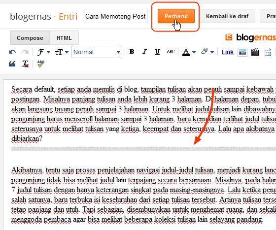 Cara Memotong Tulisan (Read More) pada Blog