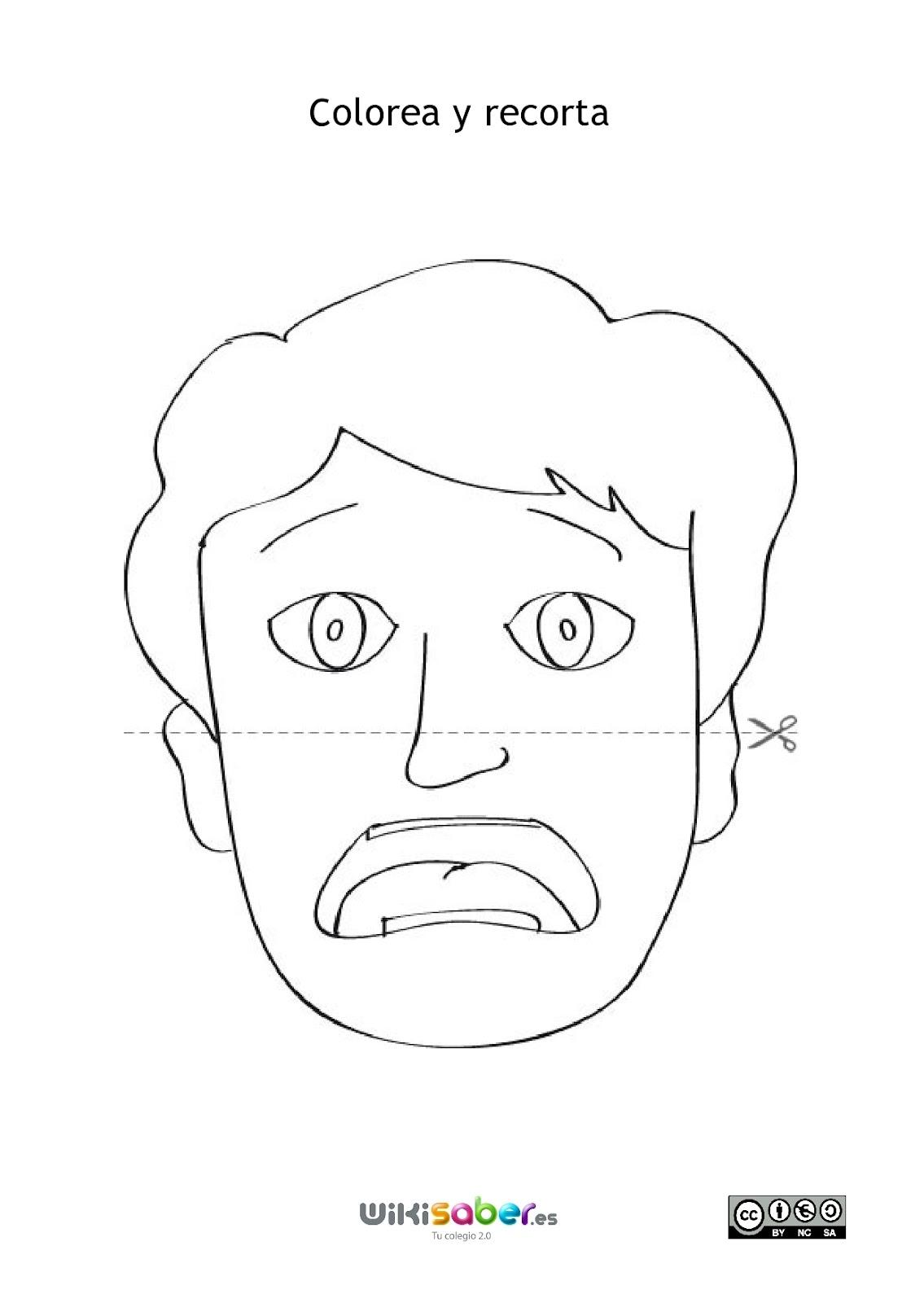 imagenes de caras con diferentes estados de animo para colorear
