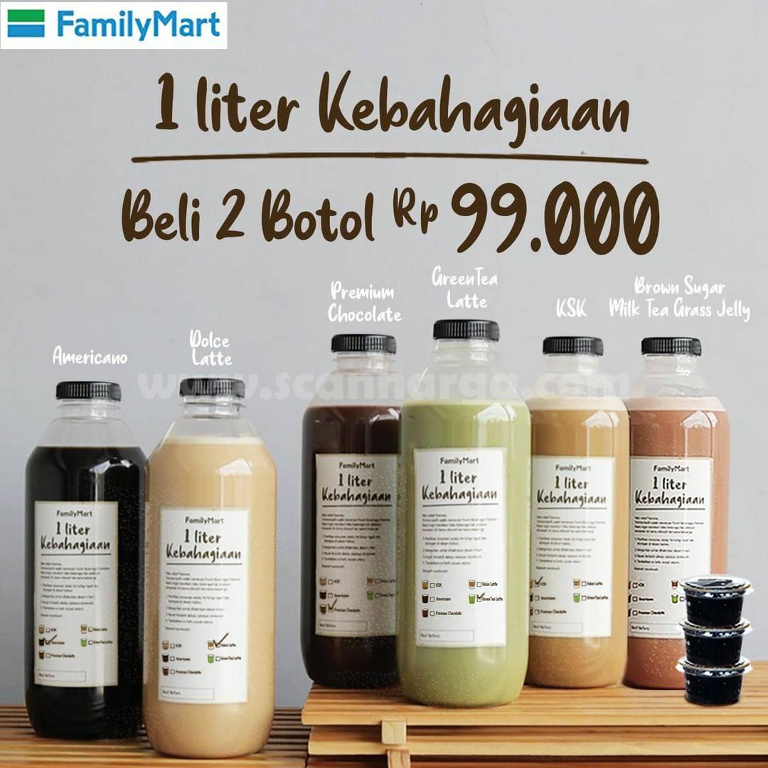 FAMILY MART Promo BELI 2 Botol 1 Liter Kebahagiaan cuma Rp. 99.000