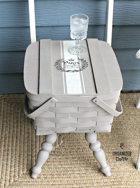Goodwill Pie Basket Repurposed as a Side Table #upcycle #repurpose #basket