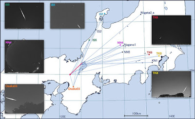 Images capturing the 2017 fireball from different angles and a map showing where the cameras were located. (Credit: NAOJ/Kasuga et al.)