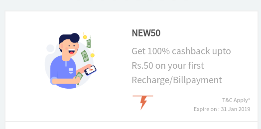 Get 100% cashback upto Rs. 50 on your first Recharge / Bill Payment