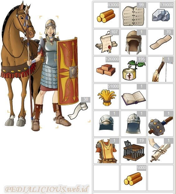 Kesatria Travian & berbagai macam barang lainnya khas seorang prajurit