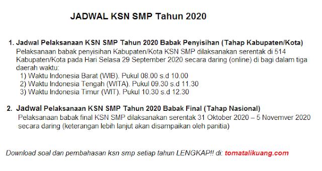 jadwal ksn smp tahun 2020 secara daring online tomatalikuang.com