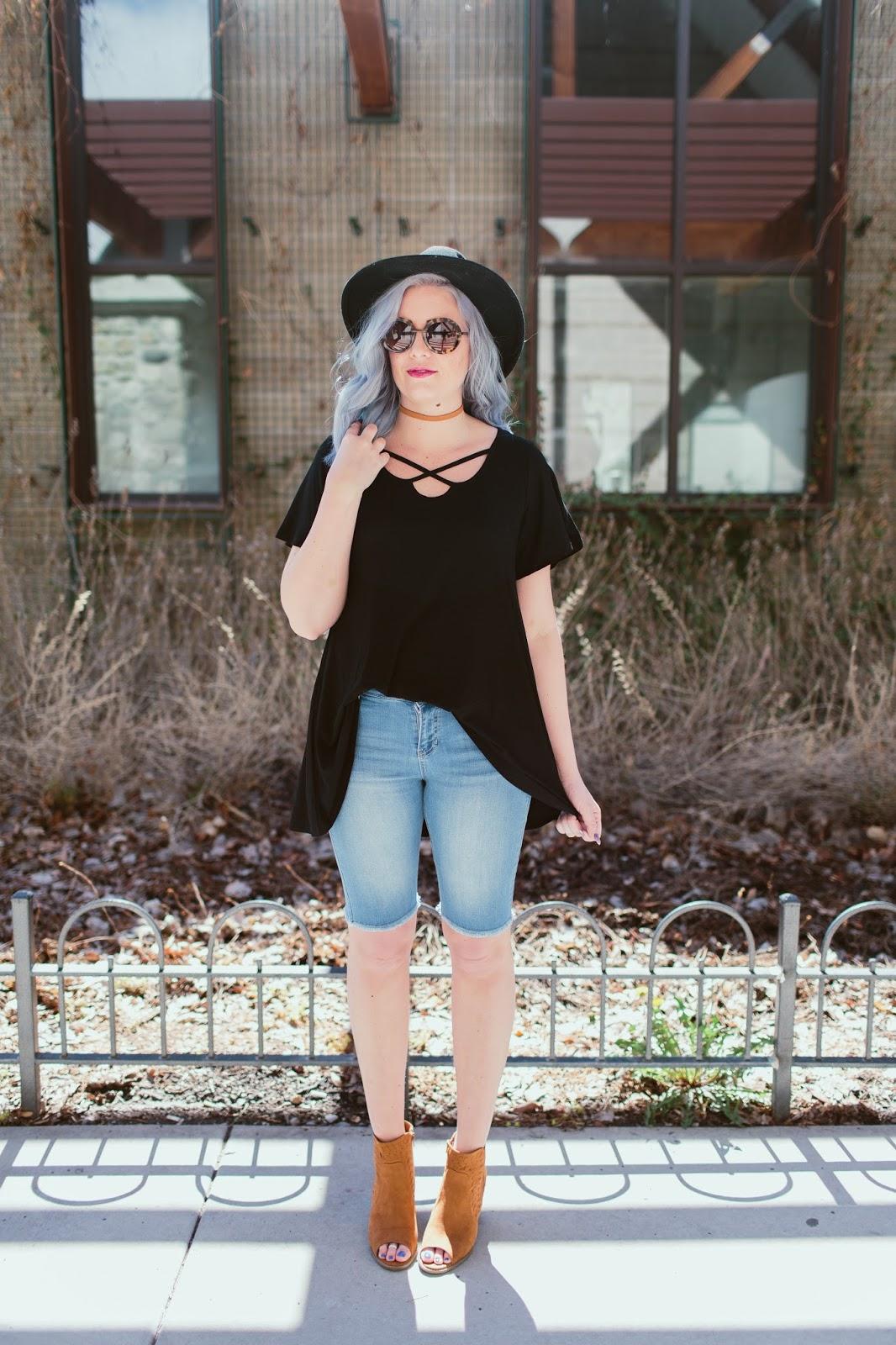 Tall Girl Style, Blue Hair, Utah Fashion Blogger