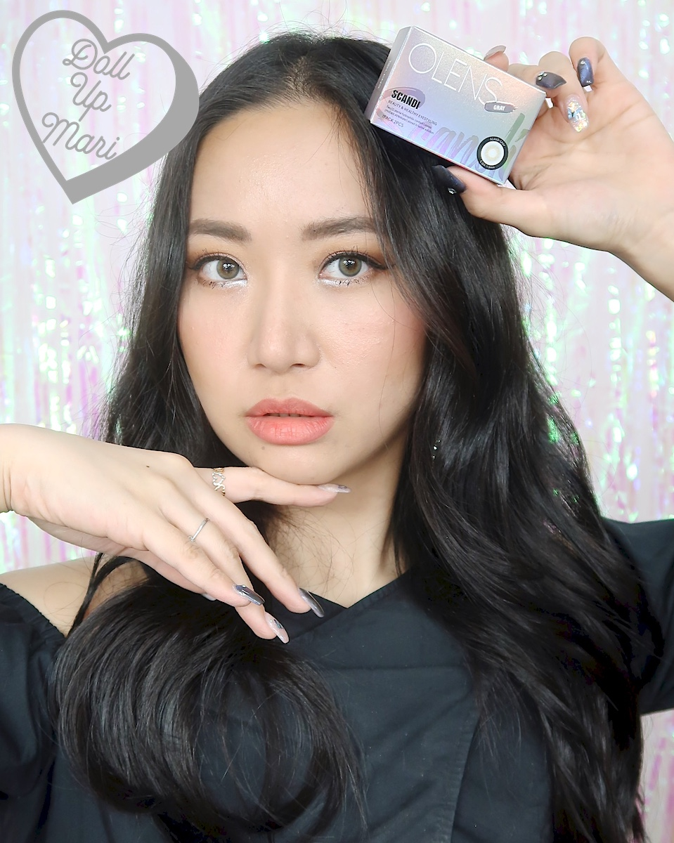 dollupmari wearing OLens Scandi Gray BlackPink Contact Lenses