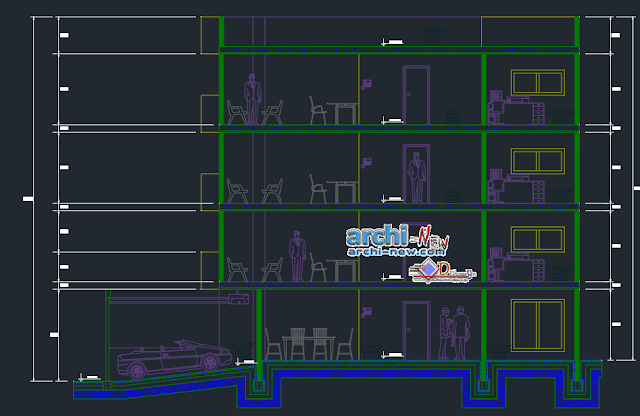 Story multi family building in AutoCAD