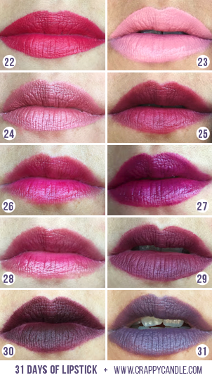 Pink, Purple, & Plum Lipstick Swatches | 31 Days of Lipstick (Crappy Candle)