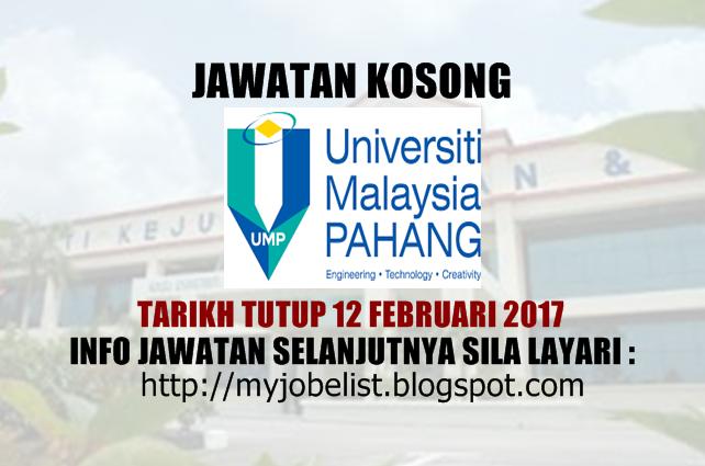 Jawatan Kosong Universiti Malaysia Pahang (UMP) Februari 2017