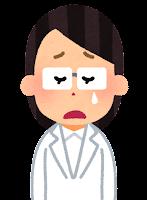 白衣を着た人のイラスト(女性・泣く)