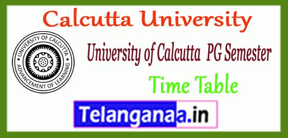 Calcutta University MA M.Sc M.Com PG 1st 3rd Semester Time Table