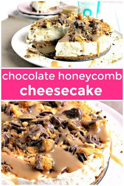 No Bake Chocolate Honeycomb Salted Caramel Cheesecake