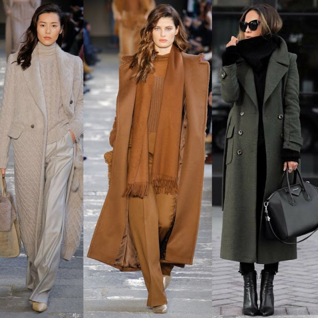 three models in long coats