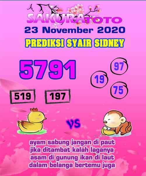 Syair Sakuratoto Sidney Senin 23 November 2020