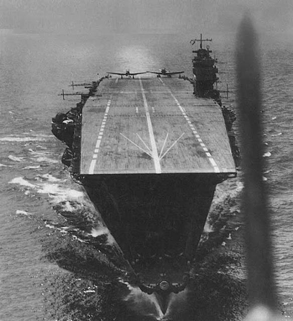 Japanese aircraft carrier Ryujo preparing to launch Aichi D3A Type 99 dive bombers on or about 5 April 1942. Worldwartwo.filminspector.com