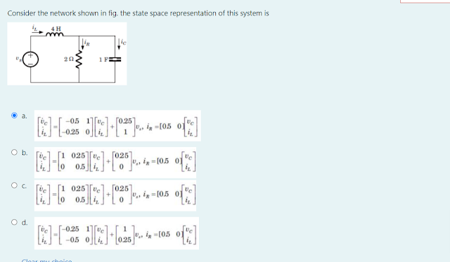 Consider the network shown in fig. the state equation for the circuit is