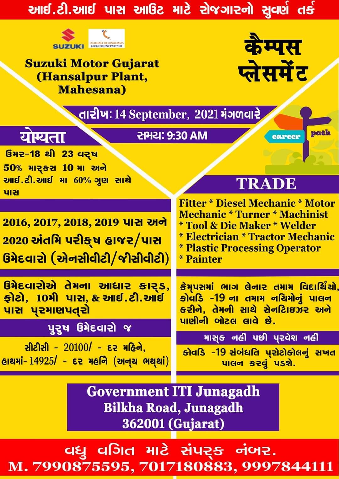 ITI Campus Recruitment On 13th & 14th September 2021 at Govt ITI Veraval, Somnath and Govt ITI Junagadh, Gujarat For Suzuki Motors