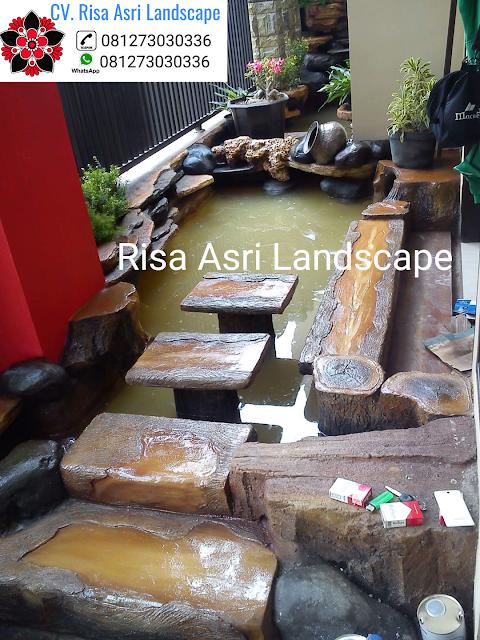 CV. RISA ASRI ASRI LANDSCAPE jasa dekorasi kolam tebing ornamen relif 3d air terjun mancur gumpalan lahar dingin