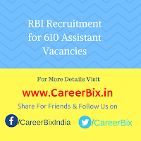 RBI Recruitment for 610 Assistant Vacancies