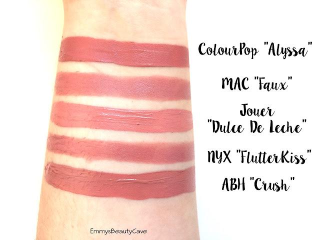 MAC Faux, Jouer Dulce De Leche, ColourPop Alyssa, NYX Flutter Kiss, ABH Crush