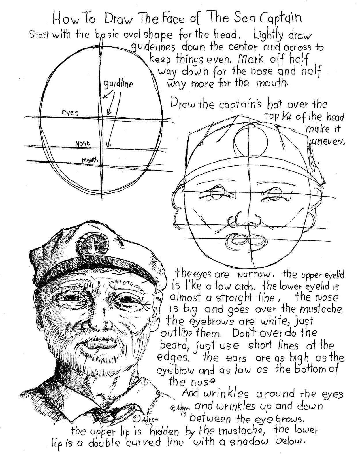 How To Draw Worksheets For The Young Artist How To Draw The Face Of The Sea Captain
