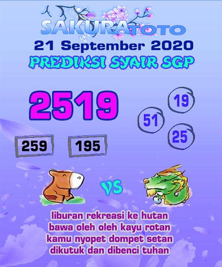Prediksi Sakuratoto SGP Senin 21 September 2020