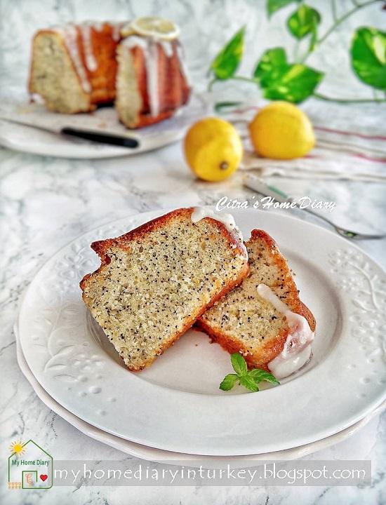 LEMON POPPY SEED YOGURT CAKE | Çitra's Home Diary. #lemoncake #coffeecake #lemon #poppyseed #dessert #lemonkek