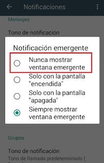 como eliminar notificaciones flotantes de whatsapp