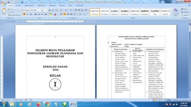 Contoh Format Silabus PJOK K13 Kelas 1 SD Semester 1 Revisi Terbaru