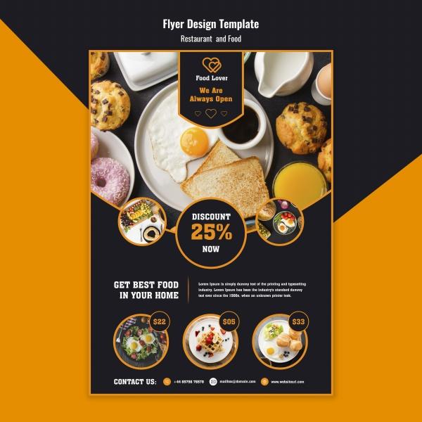 Dessert restaurant flyer design free psd template