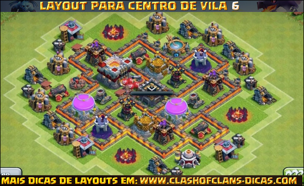 Layouts de Centro de vila 6 para Clash of Clans - Clash of