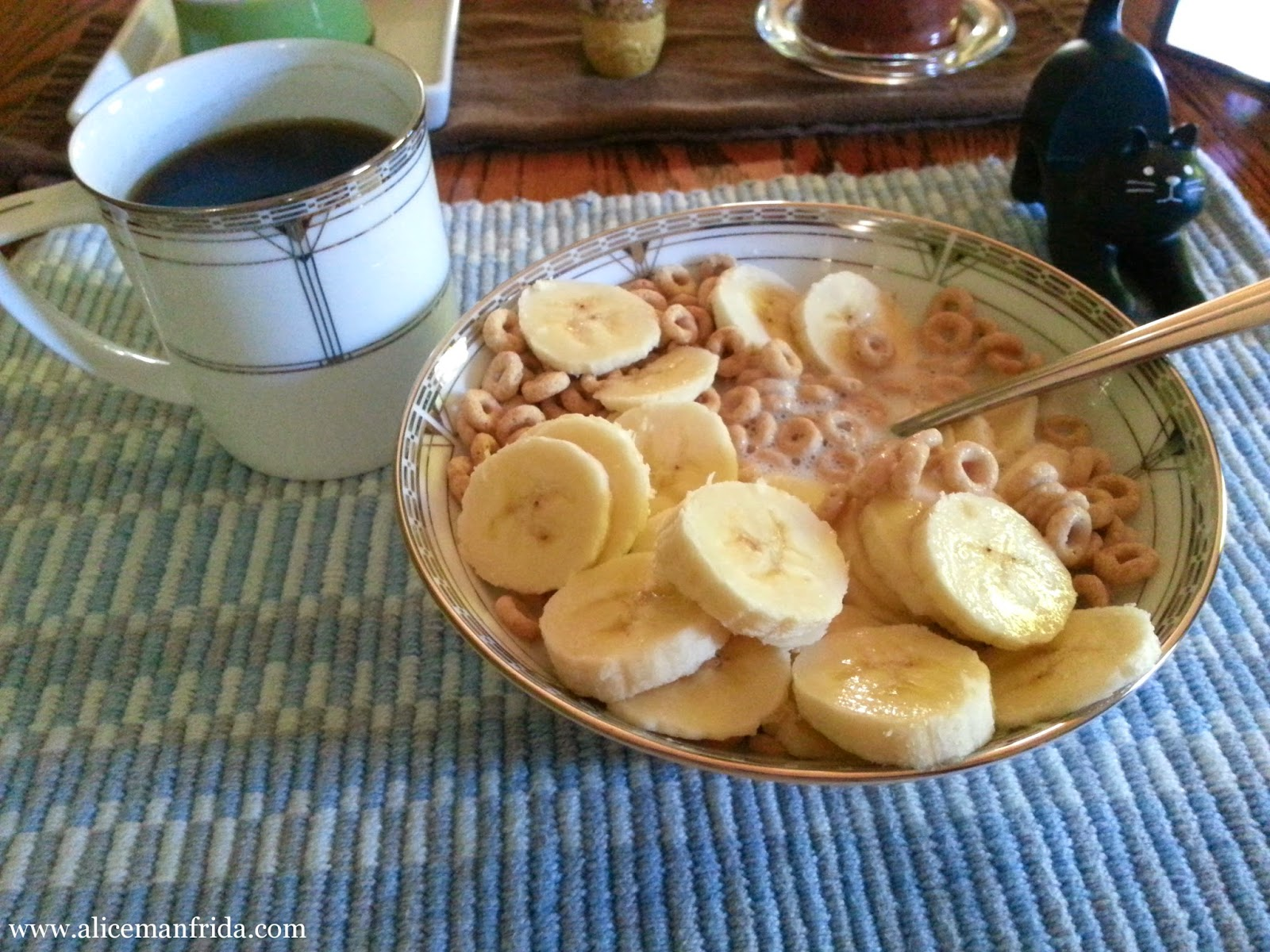 Cheerios, banana, black coffee, Tasty Tuesday