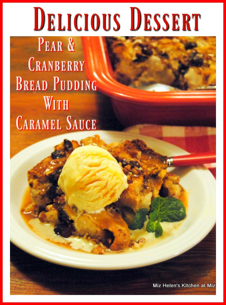 Pear Cranberry Bread Pudding