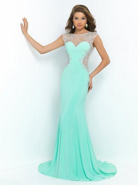 Trumpet/Mermaid Bateau Sweep/Brush Train Chiffon Prom Dresses/Evening Dresses