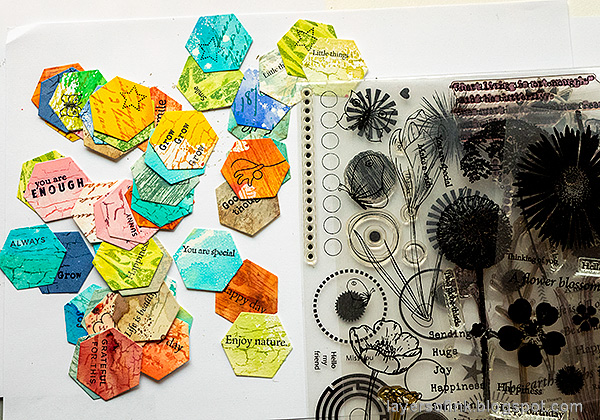 Layers of ink - Honeycomb Patchwork Tutorial by Anna-Karin Evaldsson. Stamp with SSS sentiment stamps.