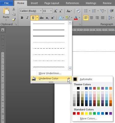 Cara Mengubah Bentuk Garis Underline di Microsoft Word