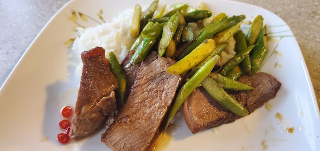 Our dinner for second night traveling through Canada. Beef with asparagus and rice