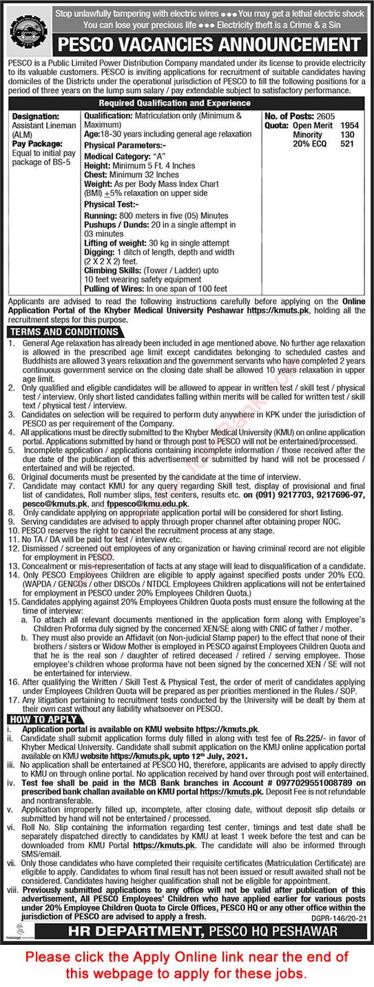 Peshawar Electric Supply Company PESCO Jobs 2021 in Pakistan - www.pesco.gov.pk Jobs 2021