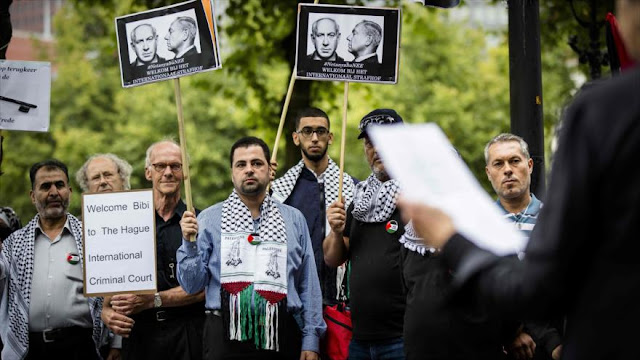 Activistas protestan contra la visita de Netanyahu a Holanda