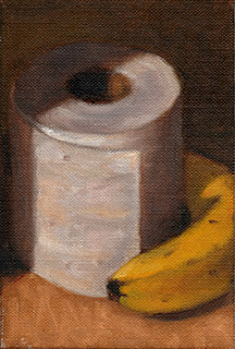 Oil painting of a banana beside a toilet roll.