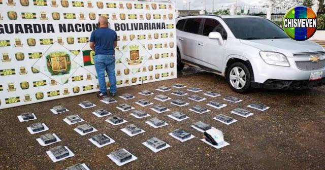 Detenido en El Furrial con 40 panelas de cocaína