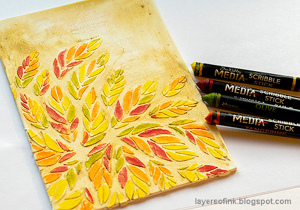 Layers of ink - Tumbling Leaves Canvas Tutorial by Anna-Karin Evaldsson. Color with Scribble Sticks.