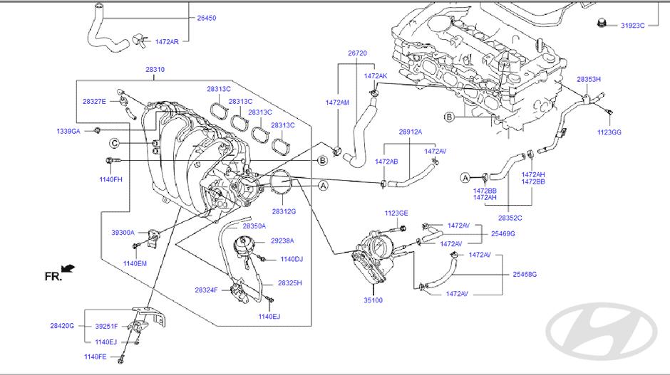2007 hyundai entourage Diagrama del motor