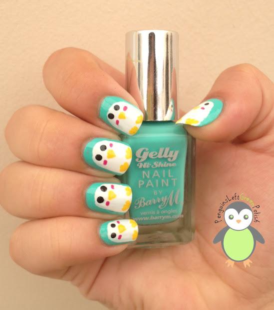 crochet penguin nail art penguinsleftgreenpolish