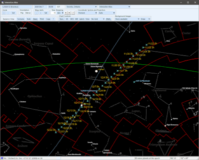 comet path plotted and labelled with SkyTools
